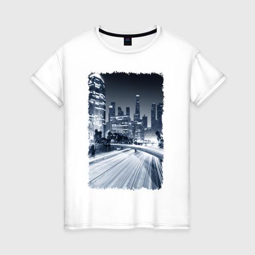Женская футболка хлопок Ночной город
