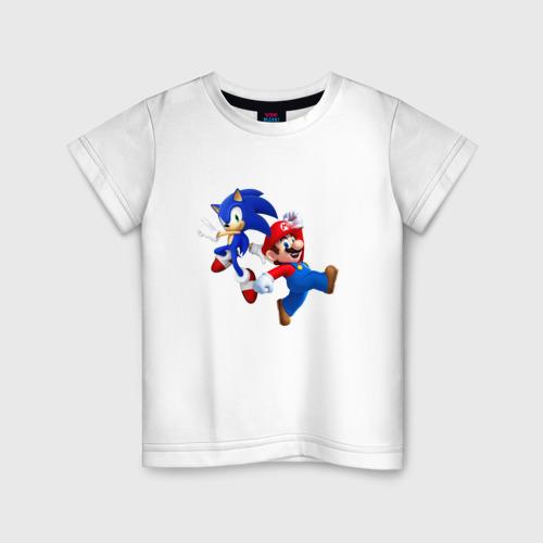 Детская футболка хлопок Sonic and Mario
