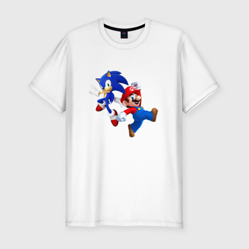 Мужская футболка хлопок Slim Sonic and Mario