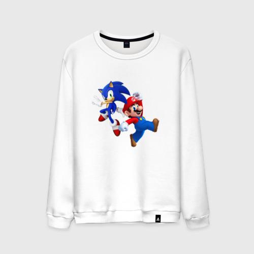 Мужской свитшот хлопок Sonic and Mario