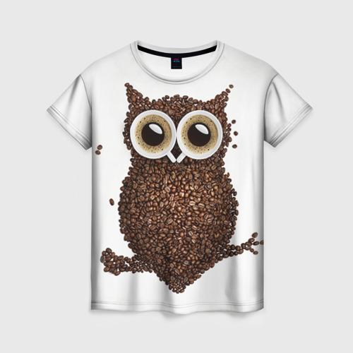 Женская футболка 3D Сова из кофе