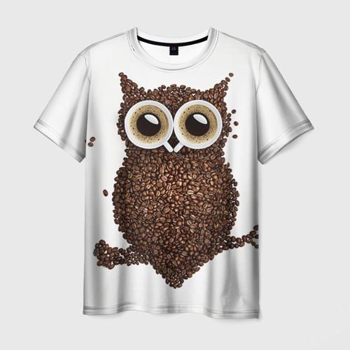 Мужская футболка 3D Сова из кофе