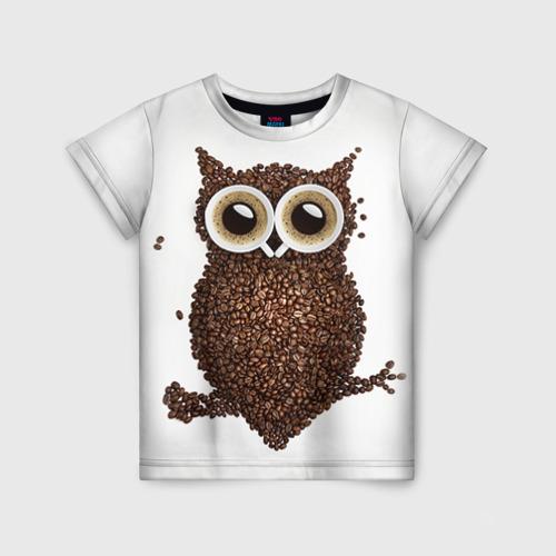 Детская футболка 3D Сова из кофе