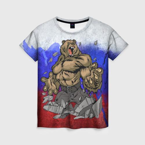 Женская футболка 3D Медведь