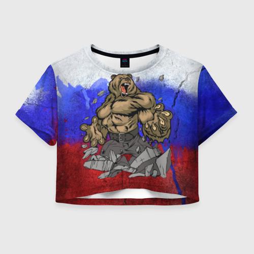 Женская футболка Crop-top 3D Медведь