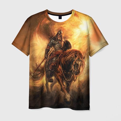 Мужская футболка 3D Богатырь с копьем