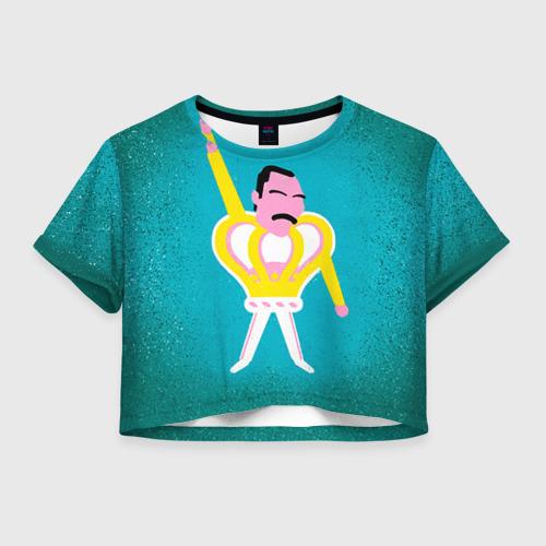 Женская футболка Crop-top 3D Freddie Mercury