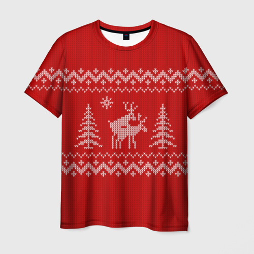 Мужская футболка 3D Свитер с оленями