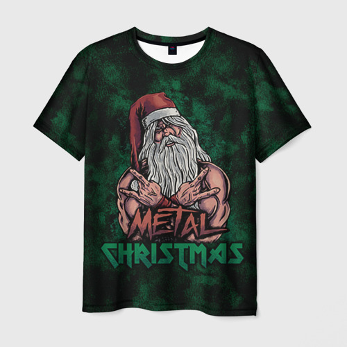 Мужская футболка 3D Metal christmas