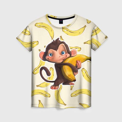 Женская футболка 3D Обезьяна с бананом