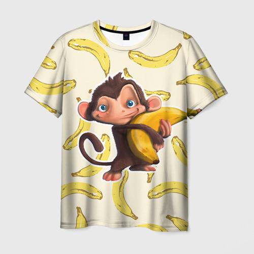 Мужская футболка 3D Обезьяна с бананом