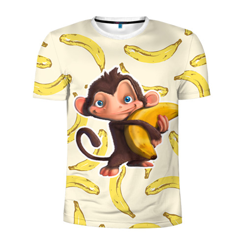 Мужская футболка 3D спортивная Обезьяна с бананом