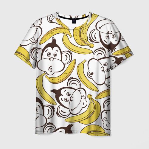 Мужская футболка 3D Обезьянки и бананы