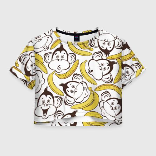 Женская футболка Crop-top 3D Обезьянки и бананы