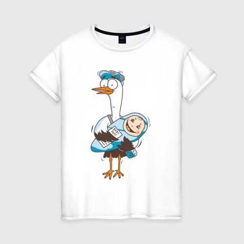 Женская футболка хлопок Аист с малышом
