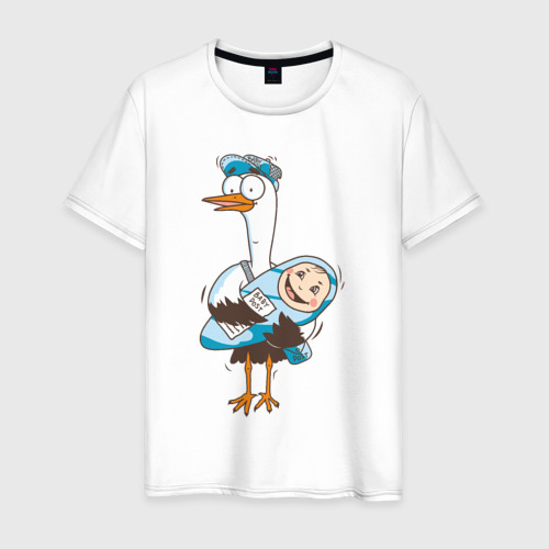 Мужская футболка хлопок Аист с малышом