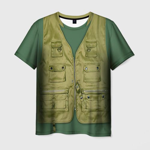 Мужская футболка 3D Жилетка рыбака