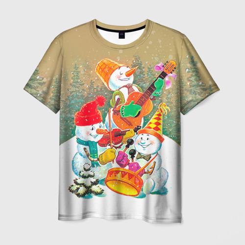 Мужская футболка 3D Снеговики
