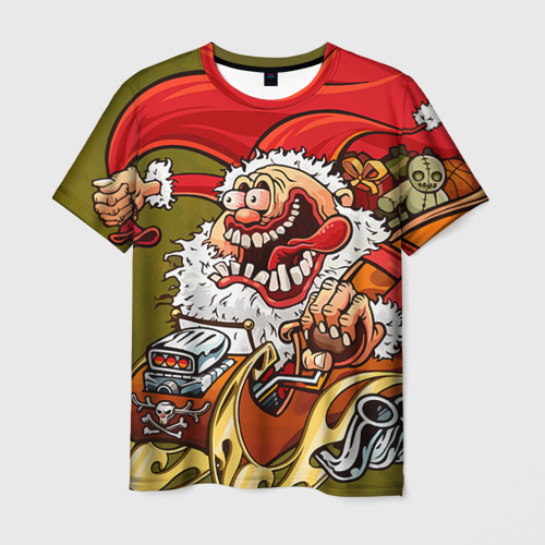 Мужская футболка 3D Дед мороз рокер