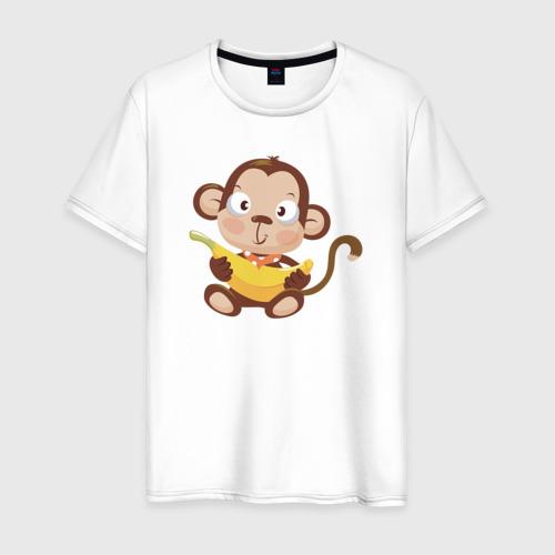 Мужская футболка хлопок Обезьянка с бананом