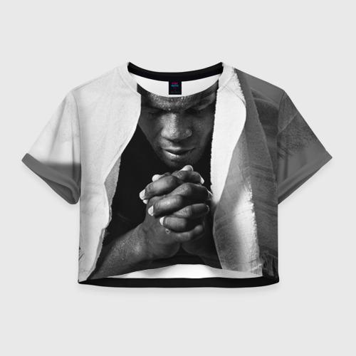 Женская футболка Crop-top 3D Майк Тайсон