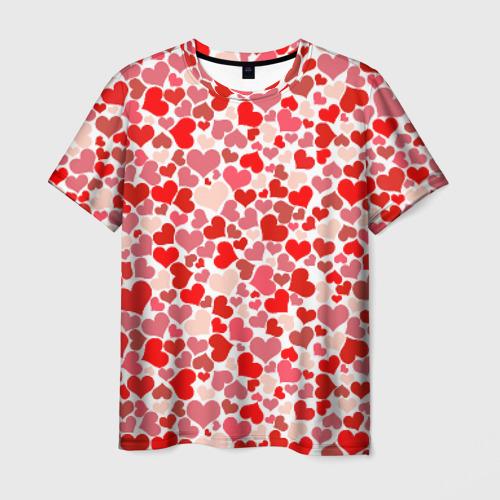 Мужская футболка 3D Сердца, любовь, орнамент, праз