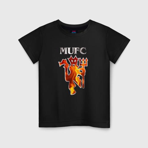 Детская футболка хлопок Manchester United fire