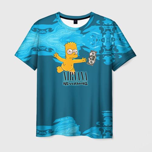Мужская футболка 3D Nirvana & Simpson
