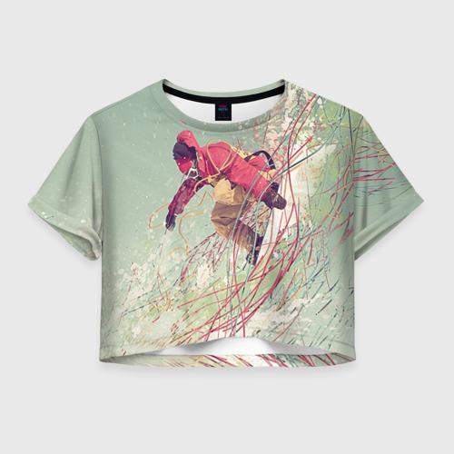 Женская футболка Crop-top 3D Сноуборд