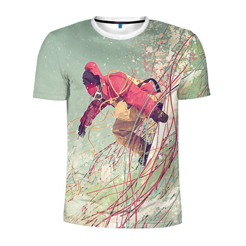 Мужская футболка 3D спортивная Сноуборд