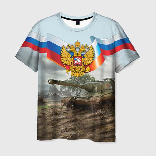 Мужская футболка 3D Танк и символика РФ