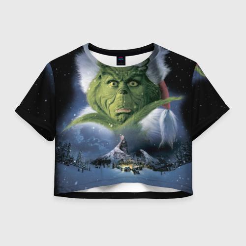 Женская футболка Crop-top 3D Гринч