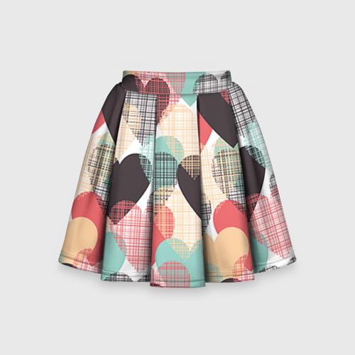 Детская юбка-солнце 3D Сердечки