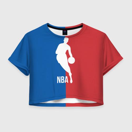 Женская футболка Crop-top 3D Эмблема NBA