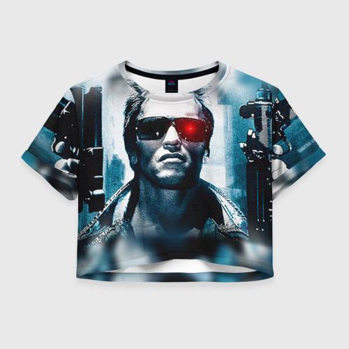 Женская футболка Crop-top 3D Терминатор 1