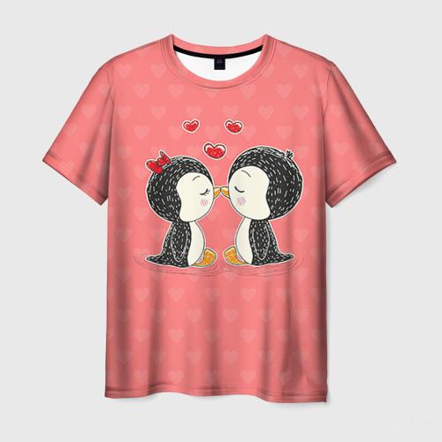 Мужская футболка 3D Влюбленные пингвины