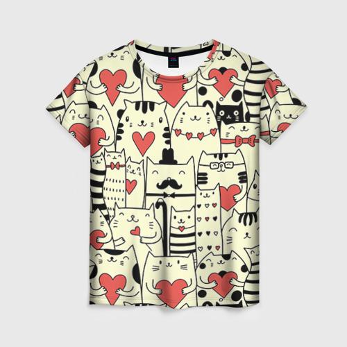 Женская футболка 3D Любящие котики