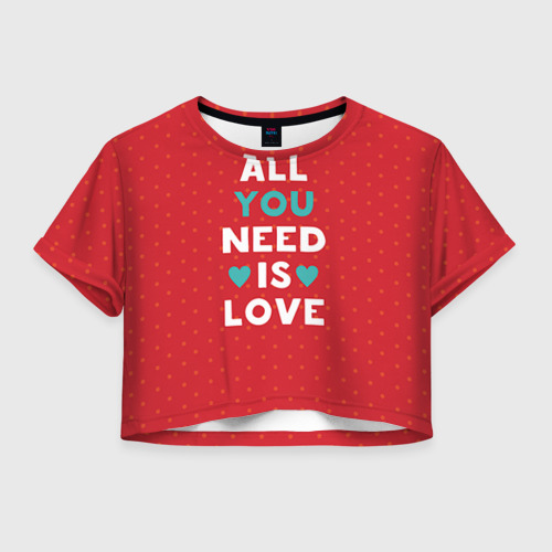 Женская футболка Crop-top 3D Любовь