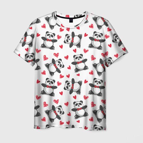 Мужская футболка 3D Панда и любовь
