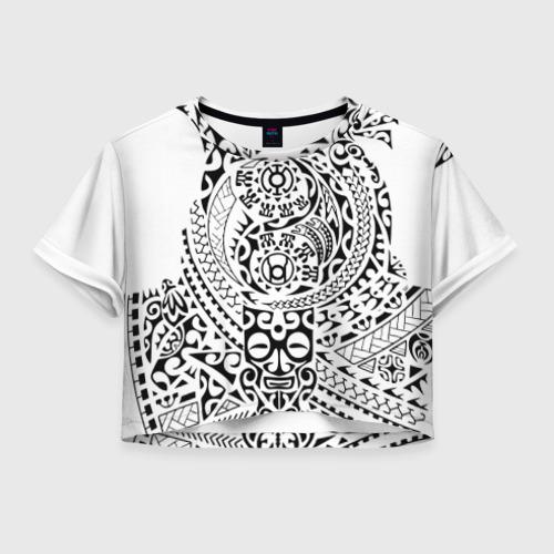 Женская футболка Crop-top 3D Узор на белом