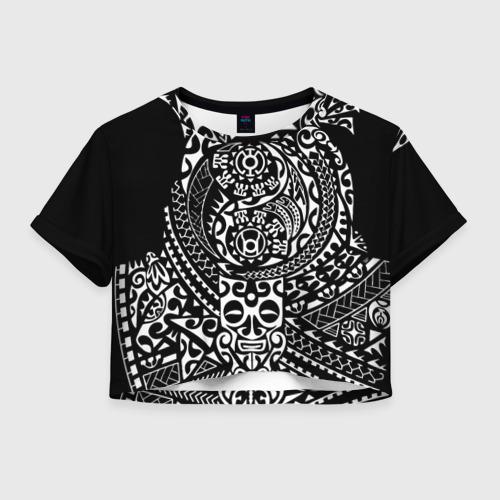 Женская футболка Crop-top 3D Узор на черном