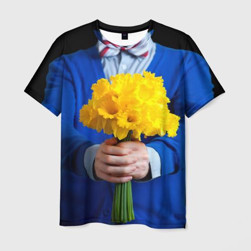 Мужская футболка 3D Цветы в руках