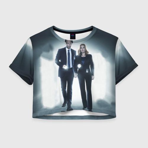 Женская футболка Crop-top 3D Малдер и Скалли