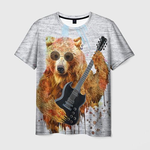 Мужская футболка 3D Медведь с гитарой