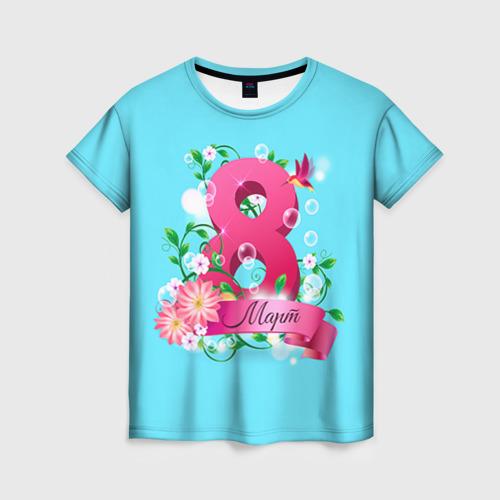 Женская футболка 3D Восьмерка и колибри