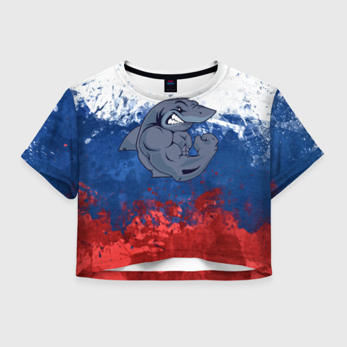 Женская футболка Crop-top 3D Акула