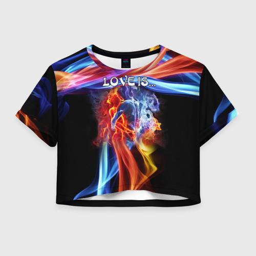 Женская футболка Crop-top 3D Поцелуй двух стихий