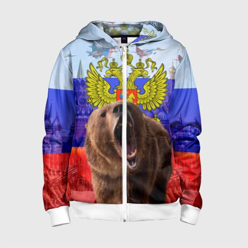 Детская толстовка 3D на молнии Русский медведь и герб