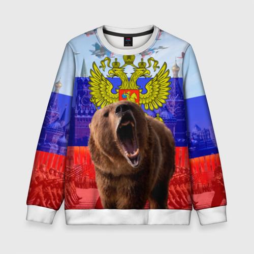 Детский свитшот 3D Русский медведь и герб