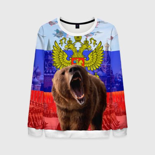 Мужской свитшот 3D Русский медведь и герб